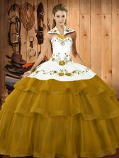 Stylish Olive Green Ball Gown Prom Dress Sweet 16 and Quinceanera with Embroidery and Ruffled Layers Halter Top Sleeveless Brush Train Lace Up