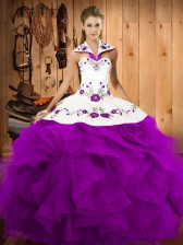 Suitable Sleeveless Floor Length Embroidery and Ruffles Lace Up Vestidos de Quinceanera with Purple