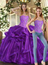 Beading and Ruffles Sweet 16 Dress Eggplant Purple Lace Up Sleeveless Floor Length