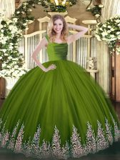 Olive Green Ball Gowns Tulle Straps Sleeveless Lace and Appliques Floor Length Zipper Quinceanera Gown