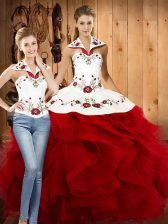 Stunning Floor Length Two Pieces Sleeveless Wine Red Quinceanera Dress Lace Up