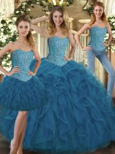 Enchanting Teal Tulle Lace Up Sweet 16 Quinceanera Dress Sleeveless Floor Length Beading and Ruffles