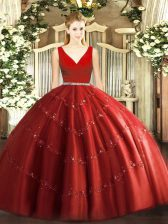 Wine Red Sweet 16 Dress Military Ball and Sweet 16 and Quinceanera with Beading V-neck Sleeveless Zipper