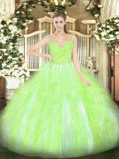 Organza Sleeveless Floor Length Sweet 16 Dress and Ruffles
