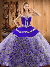 Multi-color Ball Gowns Embroidery Ball Gown Prom Dress Lace Up Satin and Fabric With Rolling Flowers Sleeveless With Train