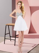 Sweetheart Sleeveless Lace Up Prom Gown White Chiffon