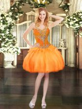 On Sale Ball Gowns Prom Gown Orange Sweetheart Organza Sleeveless Mini Length Lace Up
