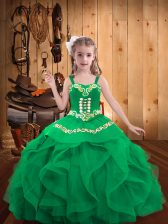 Turquoise Straps Lace Up Embroidery and Ruffles Little Girls Pageant Dress Sleeveless