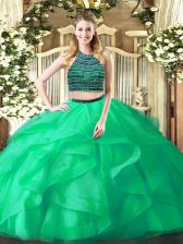 Exquisite Turquoise Organza Zipper Quinceanera Gowns Sleeveless Floor Length Beading and Ruffles