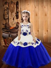 Sleeveless Lace Up Floor Length Embroidery Little Girls Pageant Gowns