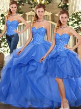 Fine Sleeveless Organza Floor Length Lace Up Quinceanera Gown in Blue with Ruffles