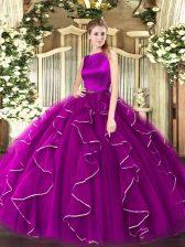 Fuchsia Sleeveless Ruffles Floor Length Sweet 16 Dresses