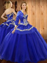 Excellent Blue Ball Gowns Ruffles 15 Quinceanera Dress Lace Up Tulle Sleeveless Floor Length
