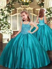 Straps Sleeveless Satin Pageant Dress for Teens Beading Zipper