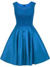 Traditional Scoop Sleeveless Zipper Quinceanera Court Dresses Blue Satin