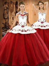 Flare Halter Top Sleeveless Lace Up Quinceanera Dress Wine Red Satin and Tulle