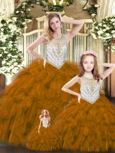 Scoop Sleeveless Quince Ball Gowns Floor Length Beading and Ruffles Brown Tulle