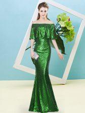 Noble Half Sleeves Sequined Floor Length Zipper Prom Gown in Dark Green with Sequins