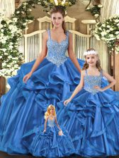Adorable Tulle Sleeveless Floor Length Sweet 16 Quinceanera Dress and Beading and Ruffles