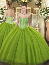 Enchanting Sleeveless Tulle Floor Length Lace Up Quinceanera Gowns in Olive Green with Beading