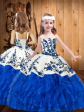 Straps Sleeveless Lace Up Kids Formal Wear Blue And White Organza