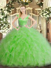 Glamorous Ball Gowns Quinceanera Dresses Green V-neck Organza Sleeveless Floor Length Zipper