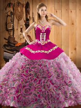 Captivating Multi-color Sleeveless Sweep Train Embroidery With Train 15 Quinceanera Dress