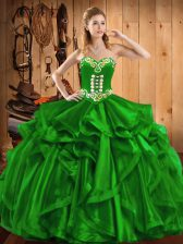 Beautiful Sweetheart Sleeveless Organza Sweet 16 Quinceanera Dress Embroidery and Ruffles Lace Up