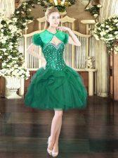 Mini Length Ball Gowns Sleeveless Dark Green Prom Dress Lace Up