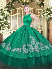 High Class Satin and Tulle Sleeveless Floor Length Sweet 16 Dress and Embroidery