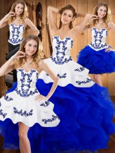 Deluxe Blue Satin and Organza Lace Up Ball Gown Prom Dress Sleeveless Floor Length Embroidery and Ruffles