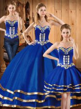 Low Price Sleeveless Lace Up Floor Length Embroidery Quinceanera Gowns