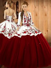 Wine Red Sleeveless Embroidery Floor Length Quinceanera Gown