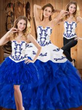 Custom Designed Sleeveless Lace Up Floor Length Embroidery and Ruffles Sweet 16 Dresses