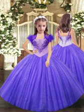 Beauteous Lavender Ball Gowns Tulle Straps Sleeveless Beading Floor Length Lace Up High School Pageant Dress