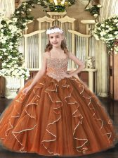Enchanting Brown Tulle Lace Up Kids Pageant Dress Sleeveless Floor Length Beading and Ruffles