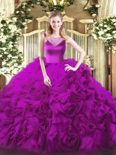 Suitable Fuchsia Sleeveless Beading Floor Length Quinceanera Gowns
