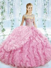Hot Sale Beading and Ruffles 15 Quinceanera Dress Baby Pink Lace Up Sleeveless Brush Train