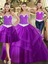 Most Popular Sweetheart Sleeveless Organza Sweet 16 Dresses Appliques Lace Up