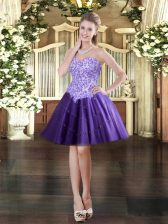 Shining Purple Ball Gowns Sweetheart Sleeveless Tulle Mini Length Lace Up Appliques Prom Dress