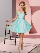 Sumptuous Apple Green Tulle Zipper Off The Shoulder Sleeveless Mini Length Court Dresses for Sweet 16 Appliques