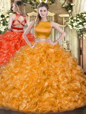 Fantastic Sleeveless Tulle Floor Length Criss Cross Sweet 16 Dress in Orange Red with Ruffles