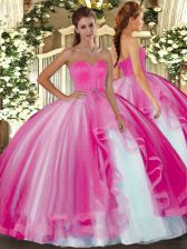 Hot Pink Tulle Lace Up 15th Birthday Dress Sleeveless Floor Length Beading