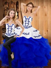 Blue Sleeveless Floor Length Embroidery and Ruffles Lace Up Quinceanera Dress