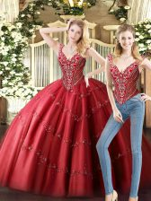 Flare Wine Red Tulle Lace Up V-neck Sleeveless Floor Length Vestidos de Quinceanera Beading