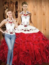 Halter Top Sleeveless Quinceanera Gowns Floor Length Embroidery and Ruffles White And Red Satin and Organza