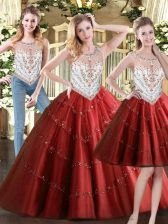 Glorious Wine Red Ball Gown Prom Dress Military Ball and Sweet 16 and Quinceanera with Beading Scoop Sleeveless Zipper