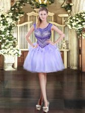 Attractive Lavender Sleeveless Mini Length Beading Zipper Homecoming Dress