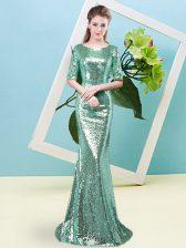 Scoop Half Sleeves Sequined Prom Gown Sequins Zipper