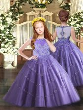 Affordable Sleeveless Floor Length Beading and Appliques Zipper Girls Pageant Dresses with Lavender